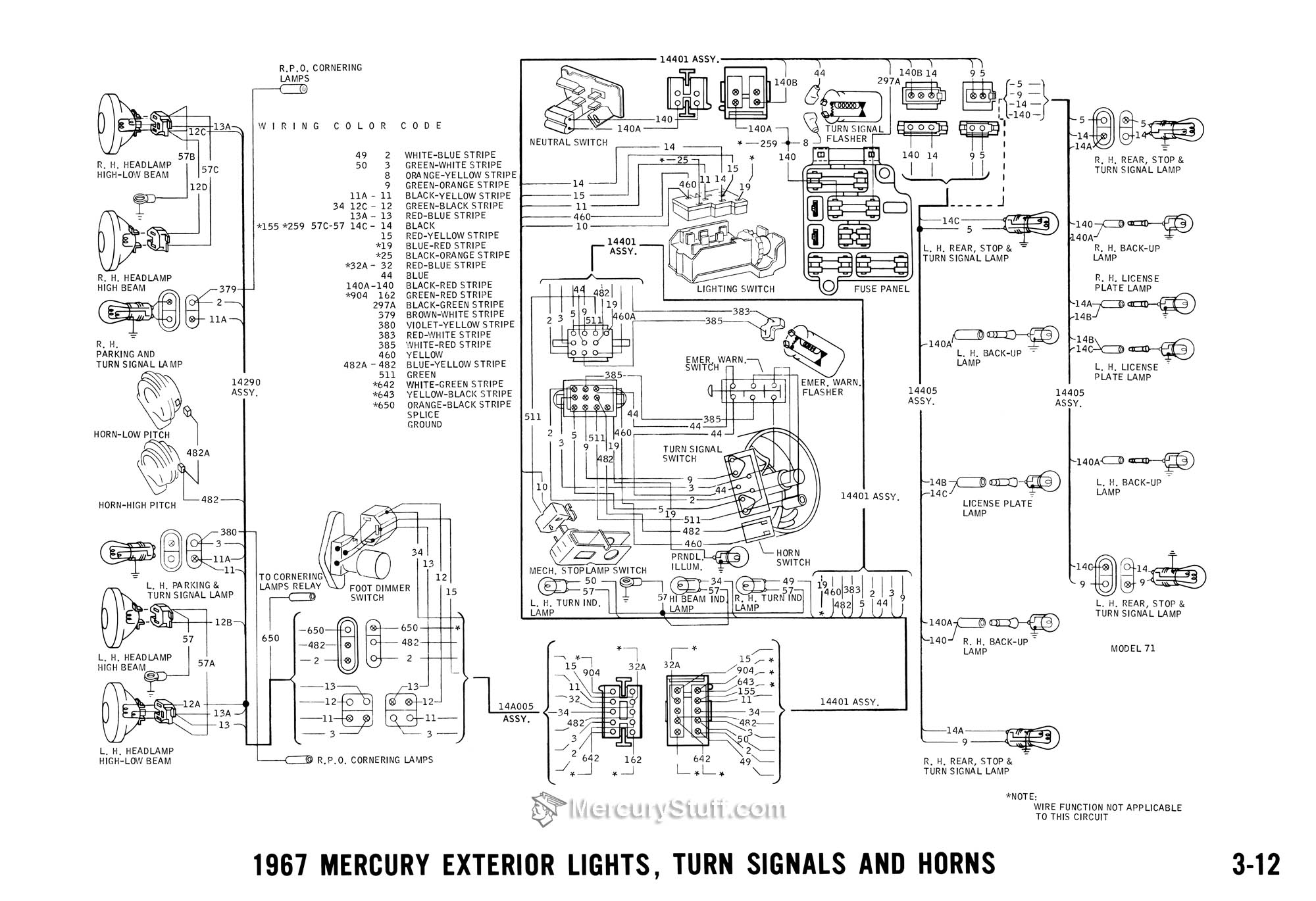 1967 mercury exterior lights turn signals horns wiring diagram 2006 mercury grand marquis the wiring diagram Mercury Cougar Air Conditioning Diagram at bakdesigns.co