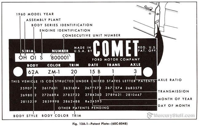 1960 Mercury Comet VIN Identification